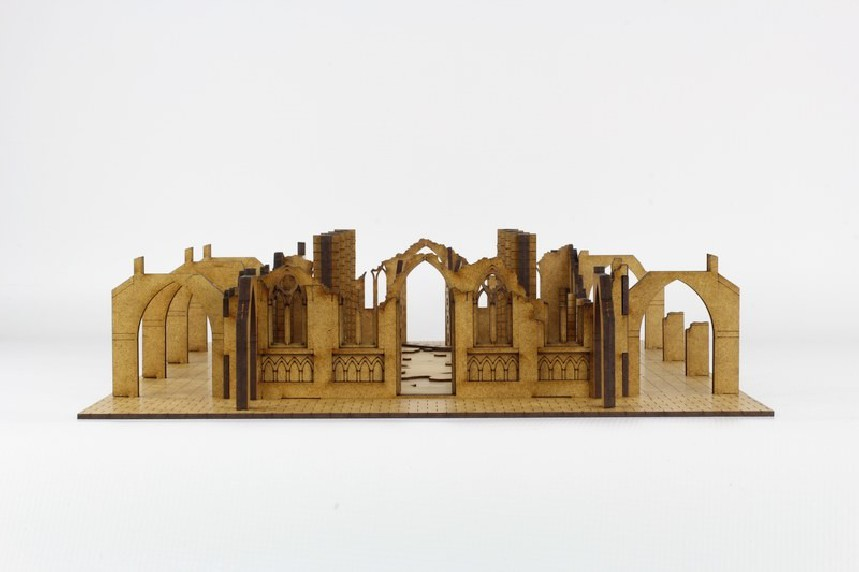 Gothic Ruined Sanctuary with columns 28mm - Terrains4games