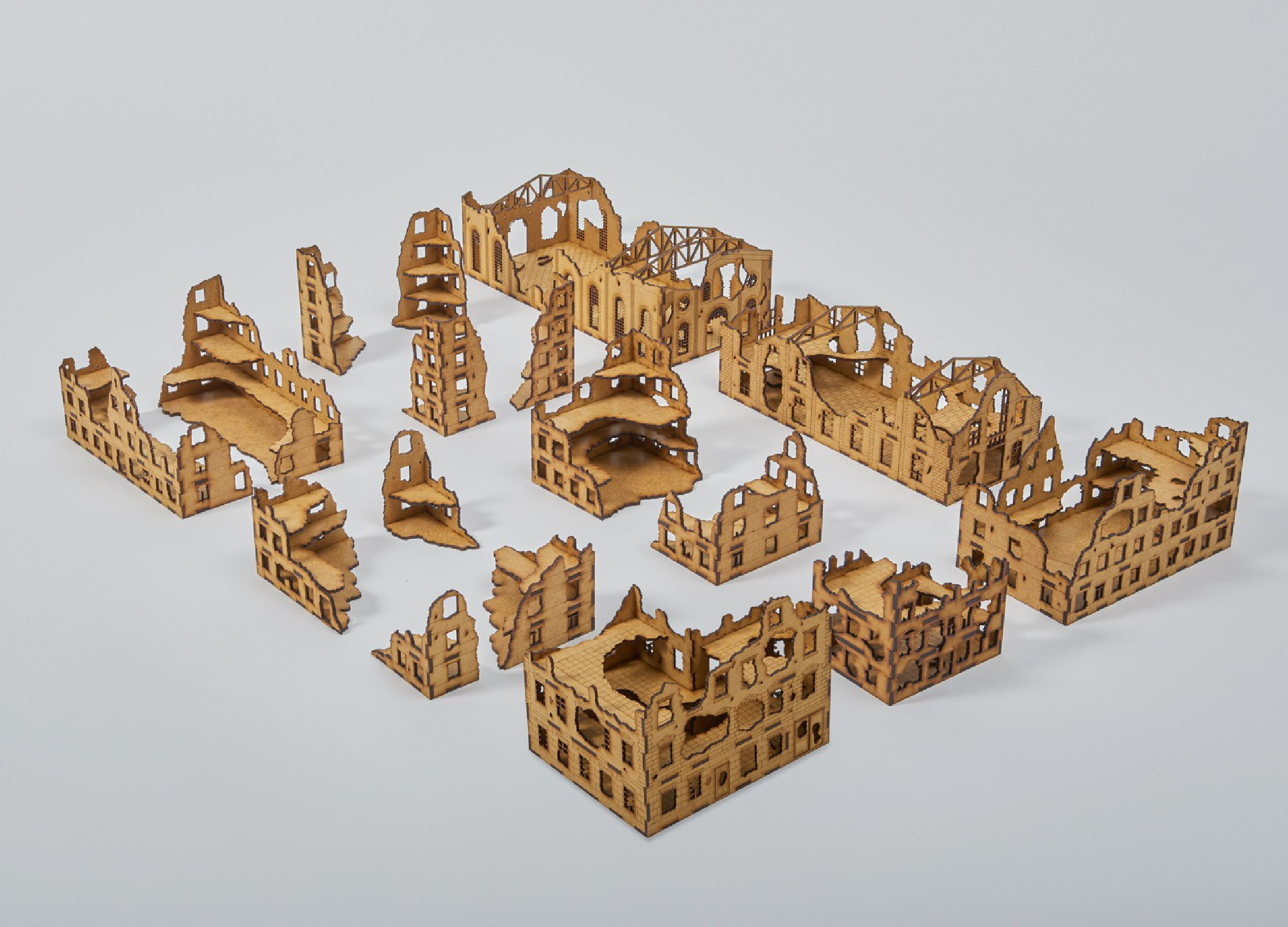 Laser Cut RUINED CITY Set  15mm