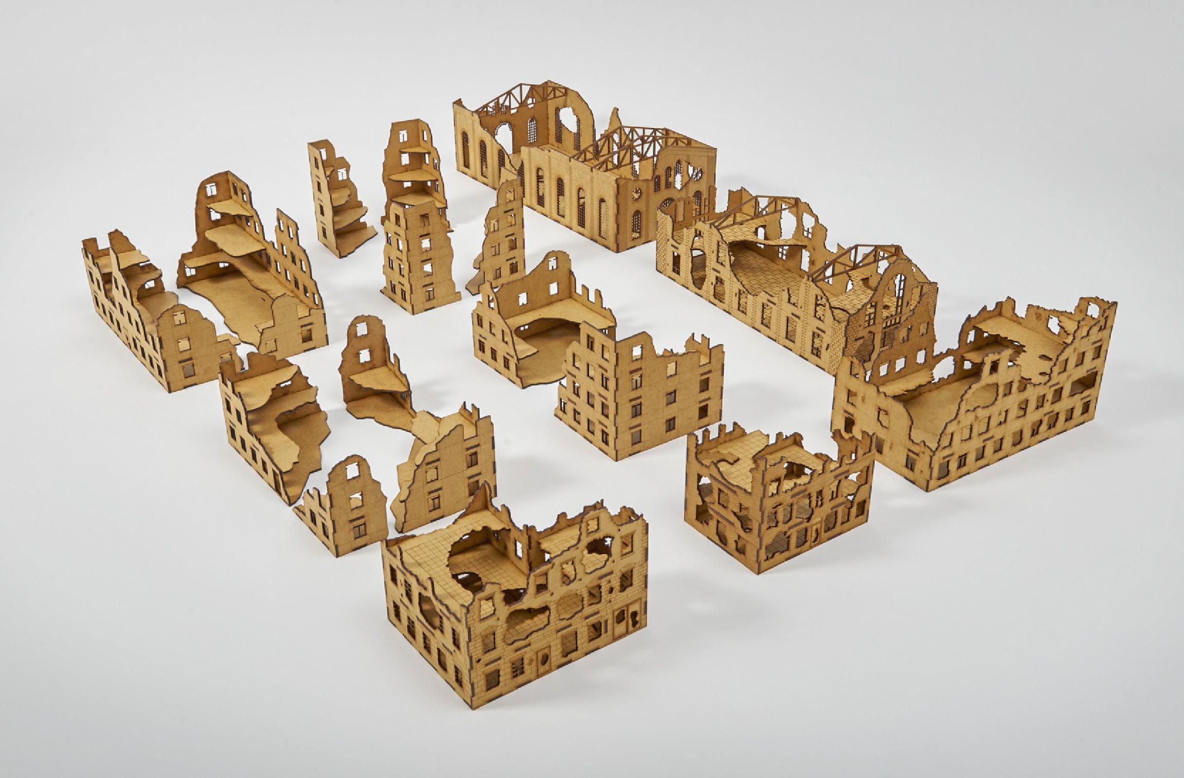 LAser Cut RUINED CITY Set 20mm