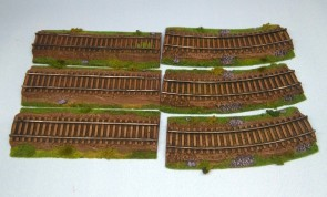 Railroad tracks set - 6 items - painted