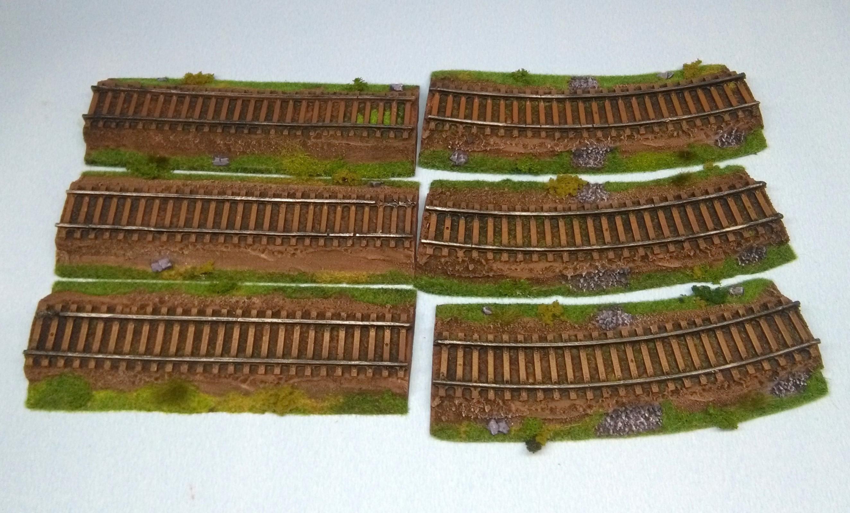 Railroad tracks set - 6 items - painted