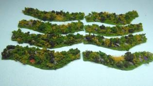 Grassy Hedges set - 8 pieces - painted